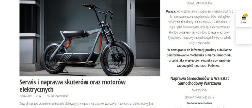 Serwis i naprawa skuterów oraz motorów elektrycznych z naprawa-hybrydy.pl