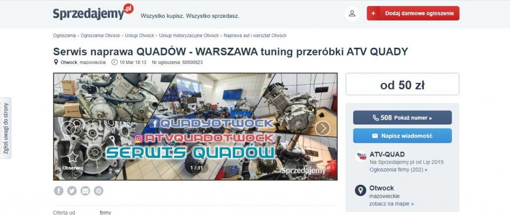 Serwis naprawa QUADÓW - WARSZAWA tuning przeróbki ATV QUADY na Sprzedajemy